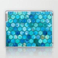Blue aqua geometric hexagonal elegant & luxury pattern Laptop & iPad Skin