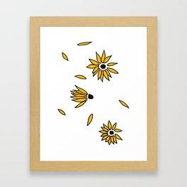 Falling Yellow Flowers Framed Art Print