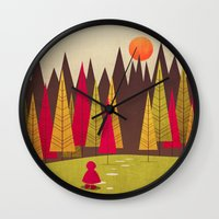red riding hood Wall Clocks featuring Little Red Riding Hood by Annisa Tiara Utami