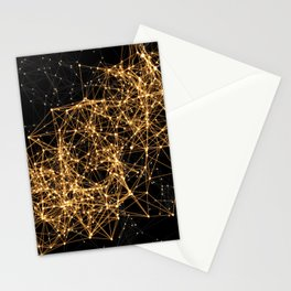 Shiny golden dots connected lines on black Stationery Cards