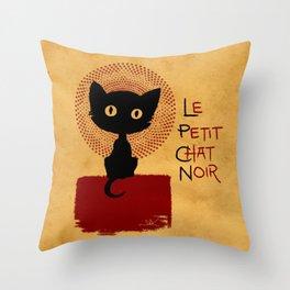 Le Petit Chat Noir Throw Pillow