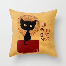 Le Petit Chat Noir Throw Pillow