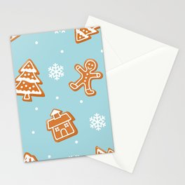 Gingerbread Cookies & Snowflakes Stationery Cards
