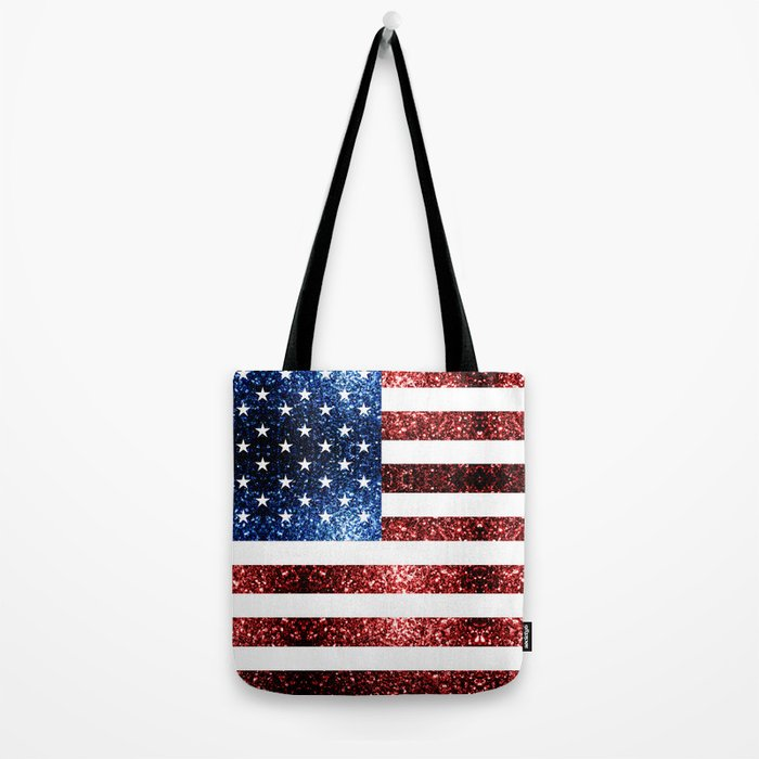 USA flag red blue sparkles glitters Tote Bag