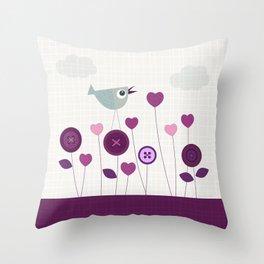 Bird loves flowers Throw Pillow