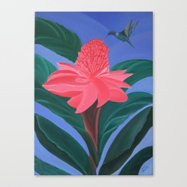 Ginger flower and humming bird Canvas Print
