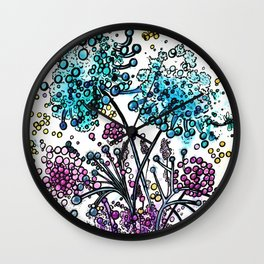 Purple floral watercolor abstraction Wall Clock