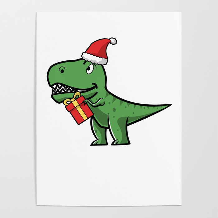 T Rex Christmas.Fa Rawr T Rex Dinosaur Christmas For Kids Gift Poster By Bubltees