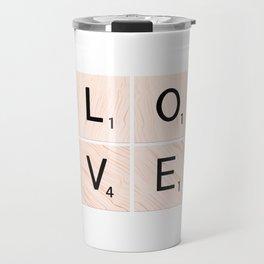 LOVE Scrabble Tiles on Custom Vector Wood Background Travel Mug