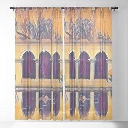 Archway Symmetry In Retro Pop Sheer Curtain