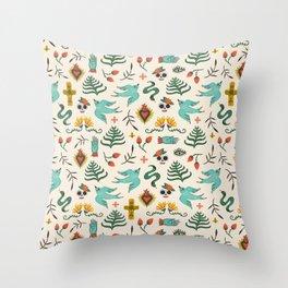 Mexican Folk Art Throw Pillow