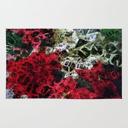 Mixed color Poinsettias 1 Letters 4 Rug