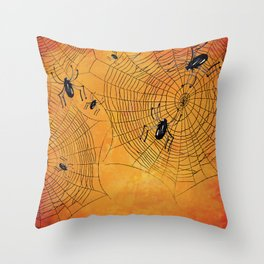 Halloween Spiderwebs Watercolor - Kitschy Vintage Spooky All Hallows Eve Throw Pillow