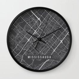 Mississauga Map, Canada - Gray Wall Clock