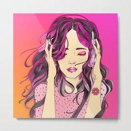 Purple: She Loves Music Metal Print