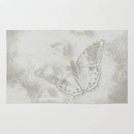delicate butterflies and textured chevron pattern Rug