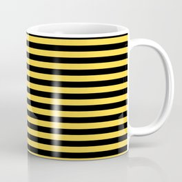 Even Horizontal Stripes, Yellow and Black, S Coffee Mug