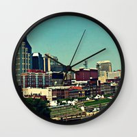 nashville Wall Clocks featuring Nashville Skyline by Sydney Smith
