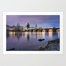 Charles Bridge at dawn Art Print