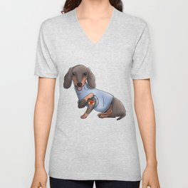 I Love Mom Tattoo Dachshund Mom Mother's Day Gift Unisex V-Neck