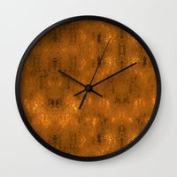 gold foil Wall Clocks featuring Gold Foil 10 by Robin Curtiss