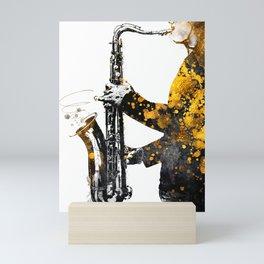 Saxophone music art gold and black #saxophone #music Mini Art Print