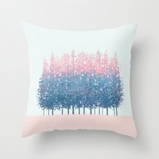 pink and blue trees Throw Pillow