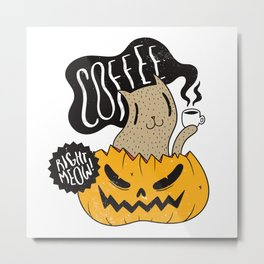 Funny cat with coffee and pumpkin Metal Print
