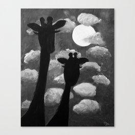 Giraffes at Nightfall - Black & White Version Canvas Print
