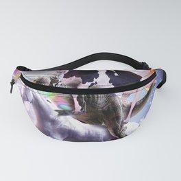 Laser Eyes Space Cow On Dinosaur Unicorn - Rainbow Fanny Pack