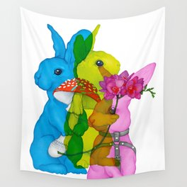 Mad Rabbits on White Wall Tapestry