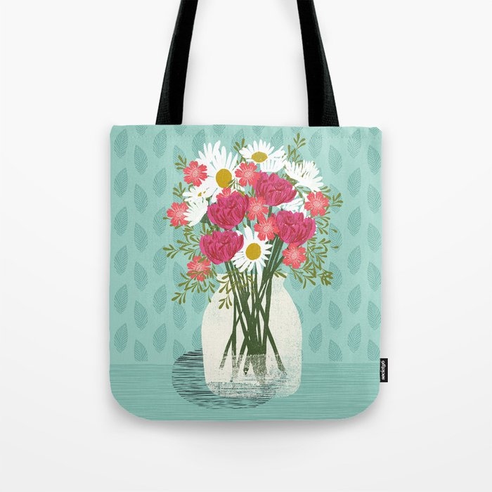 Vase of Daisies floral flowers spring summer mother's day illustration Andrea Lauren Tote Bag