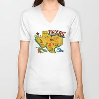 postcard V-neck T-shirts featuring Postcard from Texas print by Christiane Engel