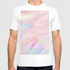 Pinky Fire Dance Watercolor Art Mens Fitted Tee White MEDIUM