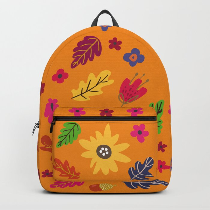 Bright Autumn Fall Leaves Flower Pattern Backpack