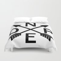 compass Duvet Covers featuring Compass Nope by mailboxdisco