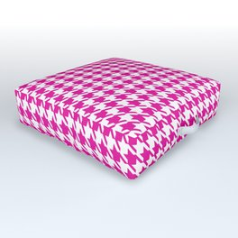 PreppyPatterns™ - Modern Houndstooth - white and magenta pink Outdoor Floor Cushion