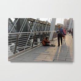 Hungerford Bridge Busker Metal Print