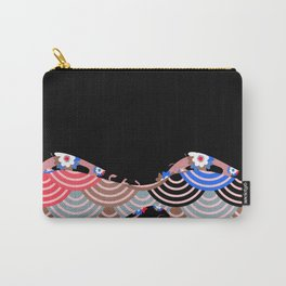 Nature background with japanese sakura flower Cherry, black wave circle pattern Carry-All Pouch