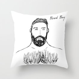 Beard Boy Silver Fox 2 Throw Pillow