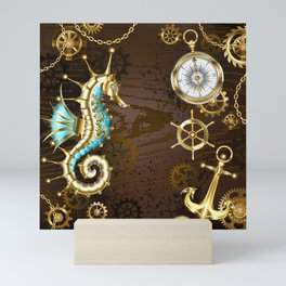Wooden Background with Mechanical Seahorse ( Steampunk ) Mini Art Print