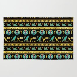 Egyptian  Ornament Symbols Pattern Rug