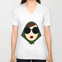 girly V-neck T-shirts featuring Girly Girl by missflores