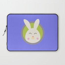 Cute rabbit head with blue circle Laptop Sleeve