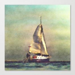 A Sailboat At Sea Canvas Print