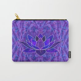Blue and Purple Lotus Floral Tribal Print Carry-All Pouch