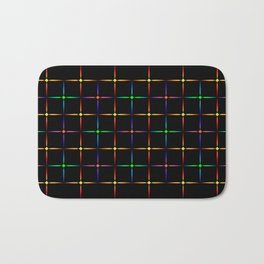 Neon diamonds. Pattern or background of multicolored neon stars on a black background Bath Mat