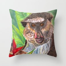 Mona Monkey Throw Pillow