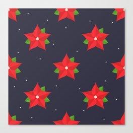 Poinsettia Christmas Pattern Canvas Print