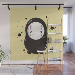 Spirited Away No Face Kawaii With Soot Sprites Wall Mural